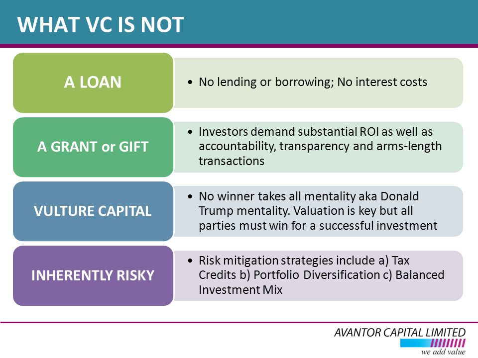WHAT VC IS NOT No lending or borrowing; No interest costs A LOAN Investors demand substantial ROI as well as accountability, transparency and arms-length transactions A GRANT or GIFT No winner takes all mentality aka Donald Trump mentality.