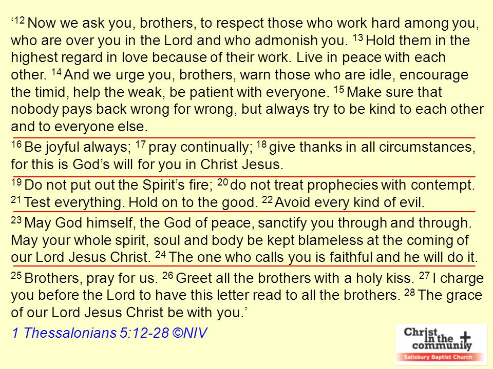 Christ in the Community 1.Structure in the Community vv 12-15 2.Support in the Community vv 16-18 3.Spirit in the Community vv 19-22 4.Sanctity in the Community vv 23-24 5.Supplication in the Community vv 25-28