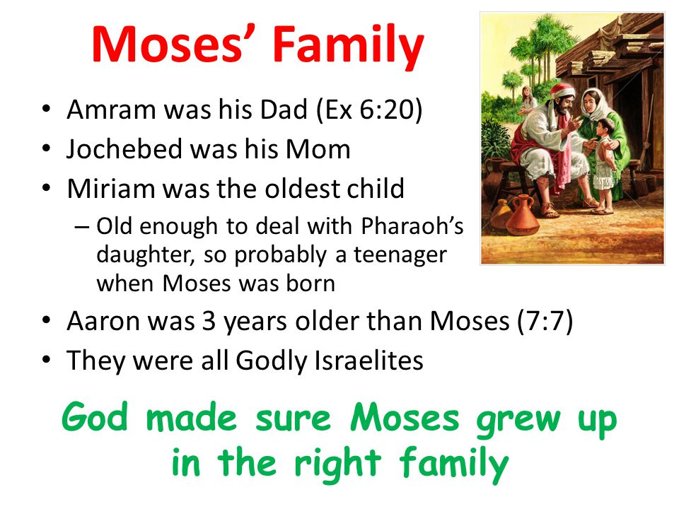 Moses' Family Amram was his Dad (Ex 6:20) Jochebed was his Mom Miriam was the oldest child – Old enough to deal with Pharaoh's daughter, so probably a