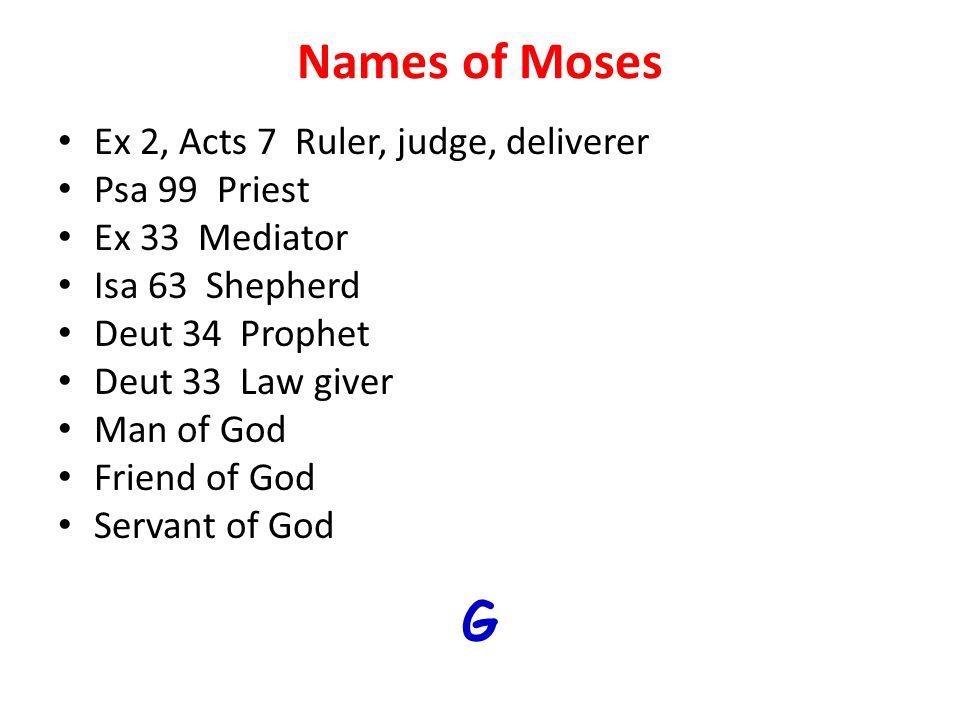 Names of Moses Ex 2, Acts 7 Ruler, judge, deliverer Psa 99 Priest Ex 33 Mediator Isa 63 Shepherd Deut 34 Prophet Deut 33 Law giver Man of God Friend o