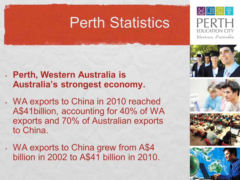 Perth Statistics Perth, Western Australia is Australia's strongest economy.