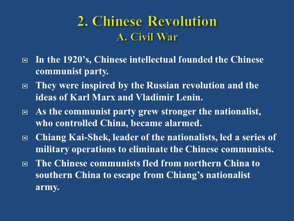  In the 1920's, Chinese intellectual founded the Chinese communist party.
