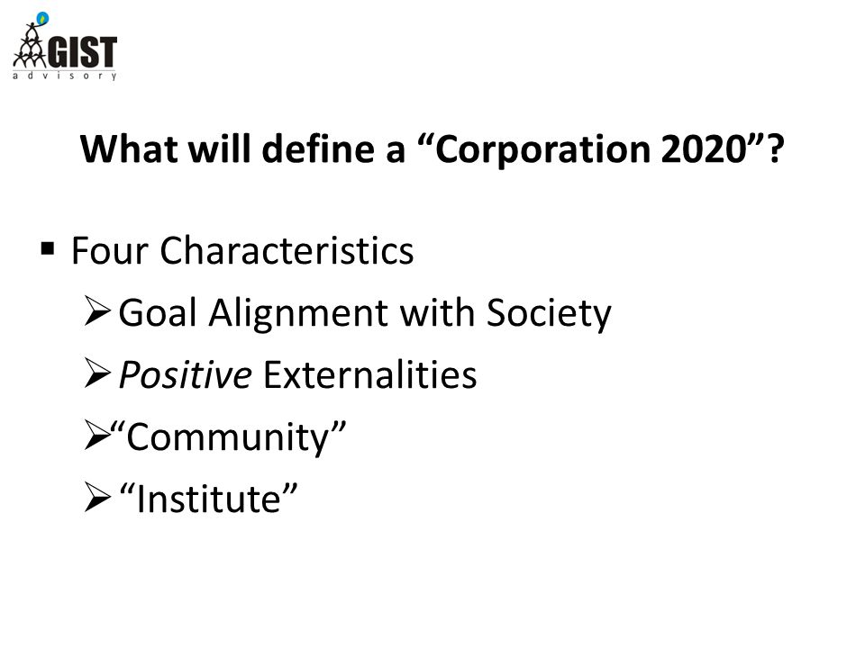 What will define a Corporation 2020 .