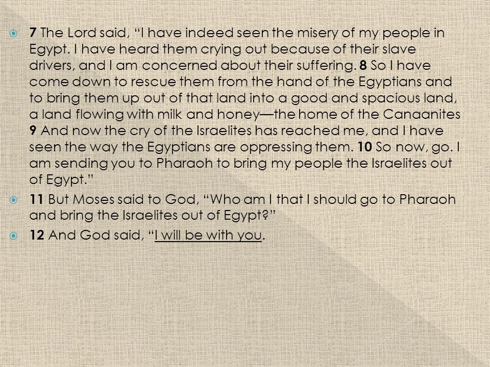  7 The Lord said, I have indeed seen the misery of my people in Egypt.