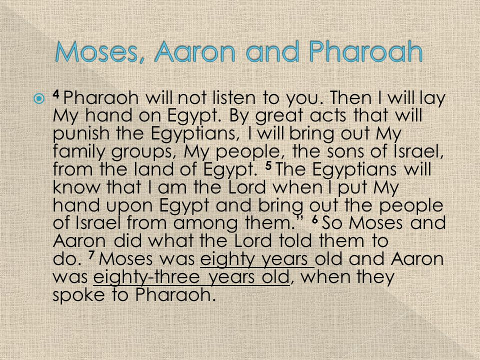  4 Pharaoh will not listen to you. Then I will lay My hand on Egypt.