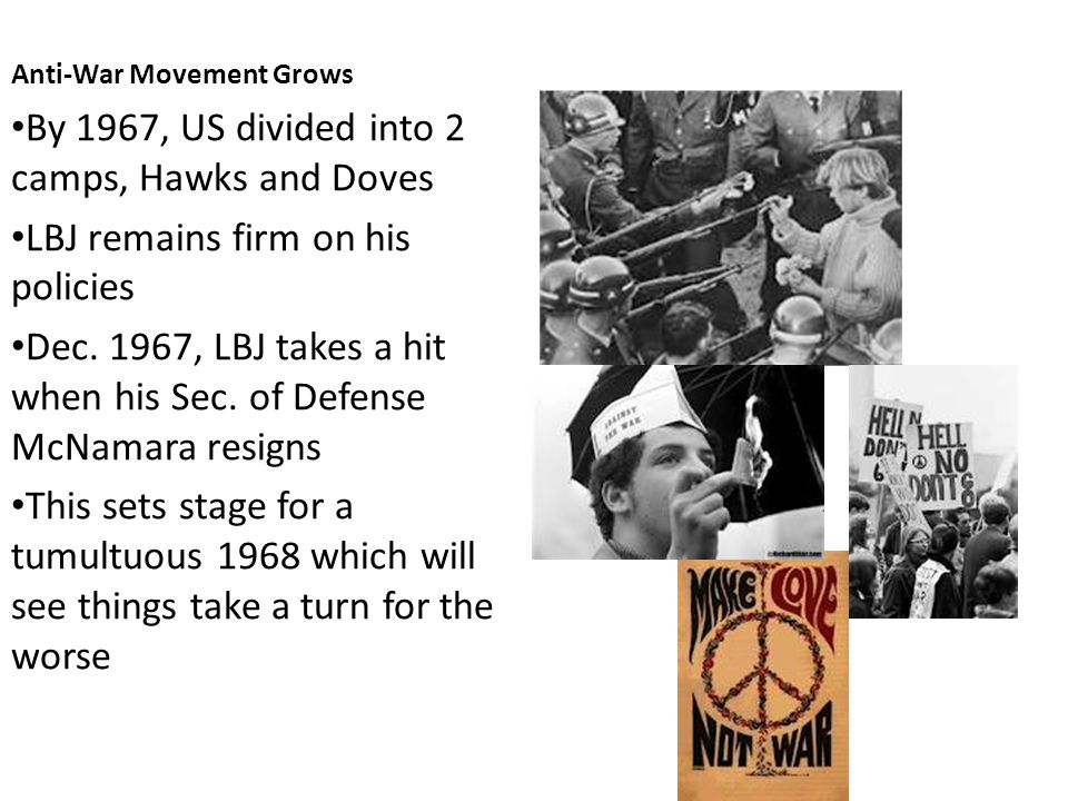 Anti-War Movement Grows By 1967, US divided into 2 camps, Hawks and Doves LBJ remains firm on his policies Dec.