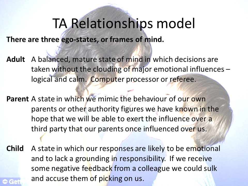 TA Relationships model There are three ego-states, or frames of mind.