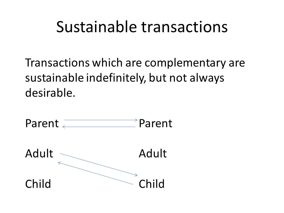Sustainable transactions Transactions which are complementary are sustainable indefinitely, but not always desirable. Parent AdultChild