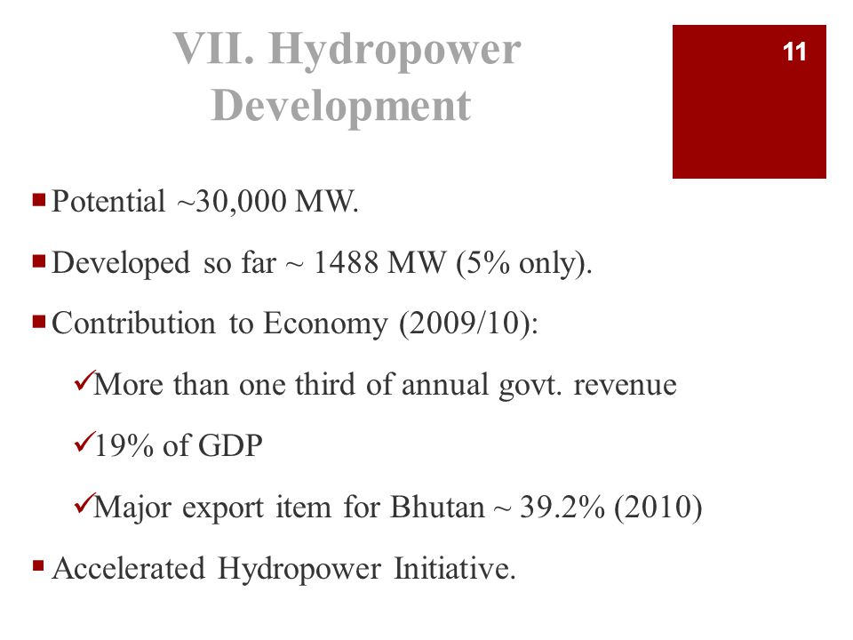 VII.Hydropower Development  Potential ~30,000 MW.