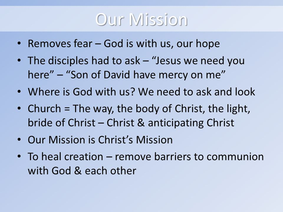Our Mission Removes fear – God is with us, our hope The disciples had to ask – Jesus we need you here – Son of David have mercy on me Where is God with us.