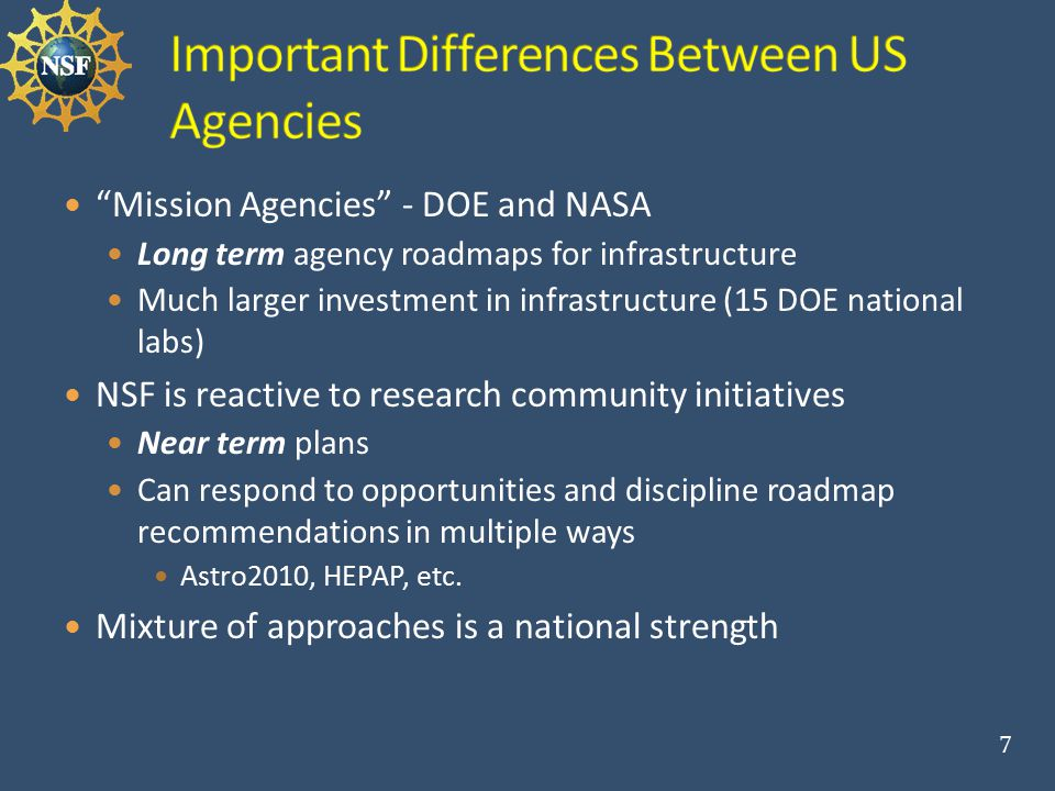 Mission Agencies - DOE and NASA Long term agency roadmaps for infrastructure Much larger investment in infrastructure (15 DOE national labs) NSF is reactive to research community initiatives Near term plans Can respond to opportunities and discipline roadmap recommendations in multiple ways Astro2010, HEPAP, etc.