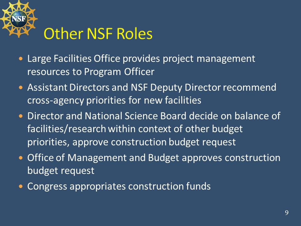 NSF Large Facility Manual: http://www.nsf.gov/publications/pub_summ.jsp?ods_key=l fm http://www.nsf.gov/publications/pub_summ.jsp?ods_key=l fm Describes process steps and expectations in detail, and coordination of processes for: project development by community oversight and review within NSF budget development, request, appropriation, and obligation process.