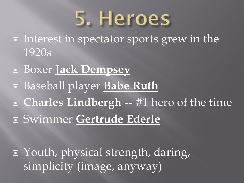  Interest in spectator sports grew in the 1920s  Boxer Jack Dempsey  Baseball player Babe Ruth  Charles Lindbergh -- #1 hero of the time  Swimmer Gertrude Ederle  Youth, physical strength, daring, simplicity (image, anyway)