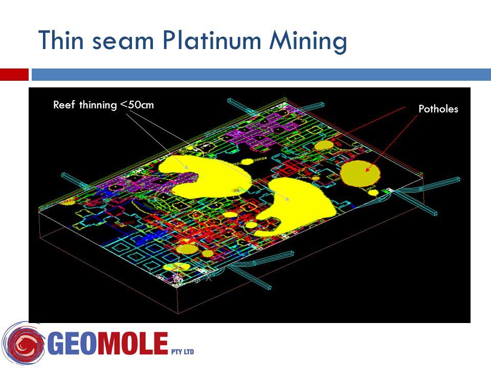 Reef thinning <50cm Potholes Thin seam Platinum Mining