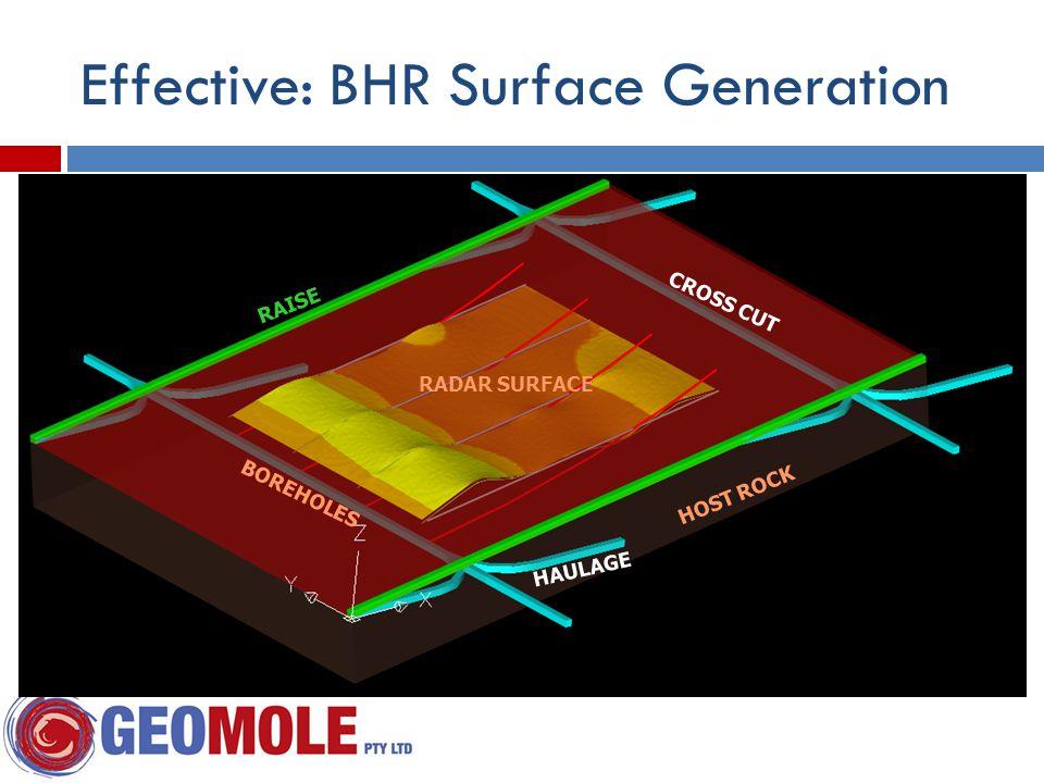 HOST ROCK BOREHOLES RADAR SURFACE RAISE HAULAGE CROSS CUT Effective: BHR Surface Generation
