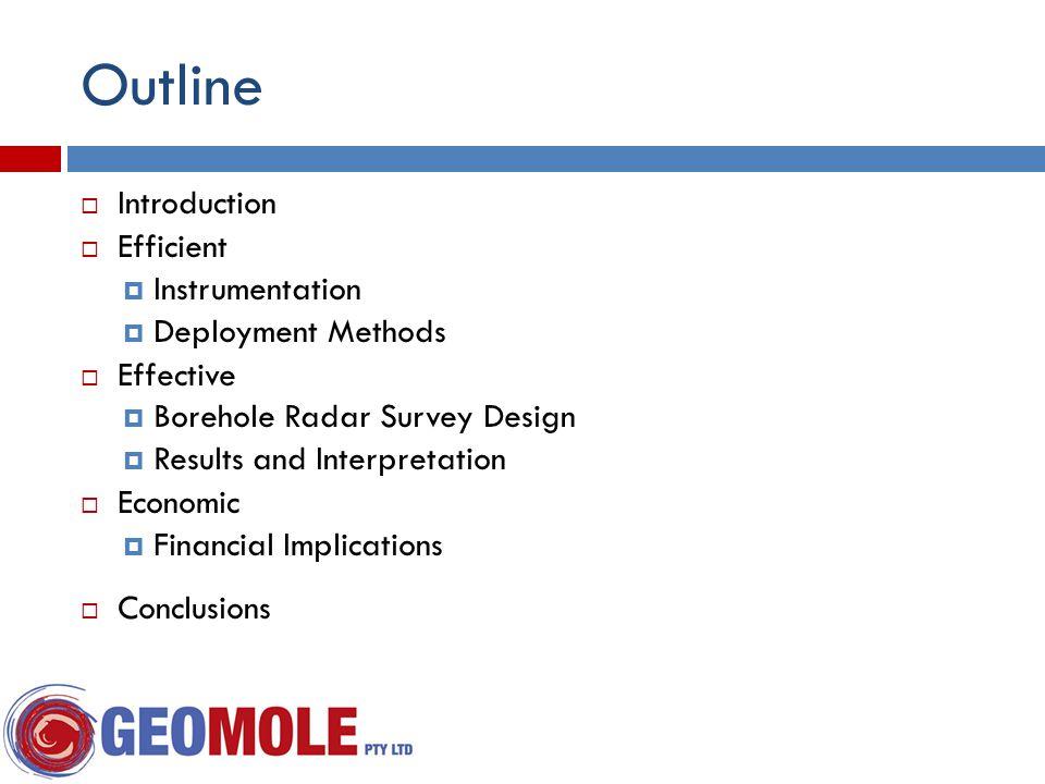 Outline  Introduction  Efficient  Instrumentation  Deployment Methods  Effective  Borehole Radar Survey Design  Results and Interpretation  Economic  Financial Implications  Conclusions