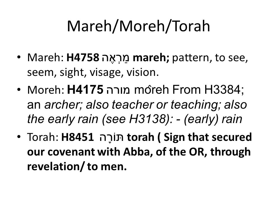 Mareh/Moreh/Torah Mareh: H4758 מַרְאֶה mareh; pattern, to see, seem, sight, visage, vision.