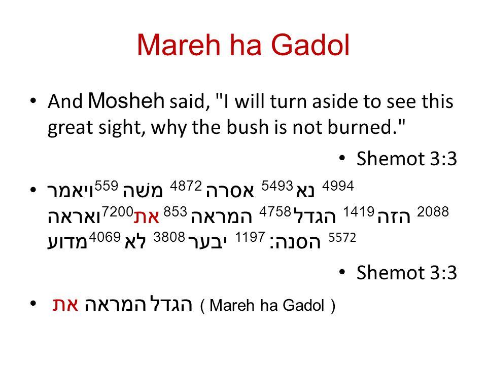 Mareh ha Gadol And Mosheh said,