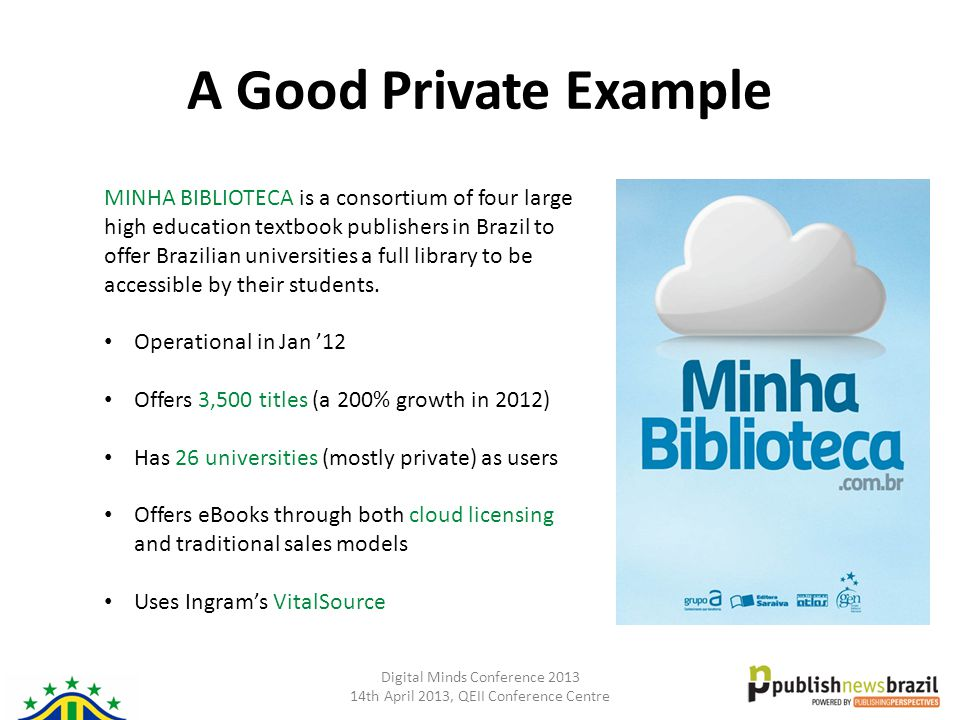 Digital Minds Conference 2013 14th April 2013, QEII Conference Centre A Good Private Example MINHA BIBLIOTECA is a consortium of four large high educa