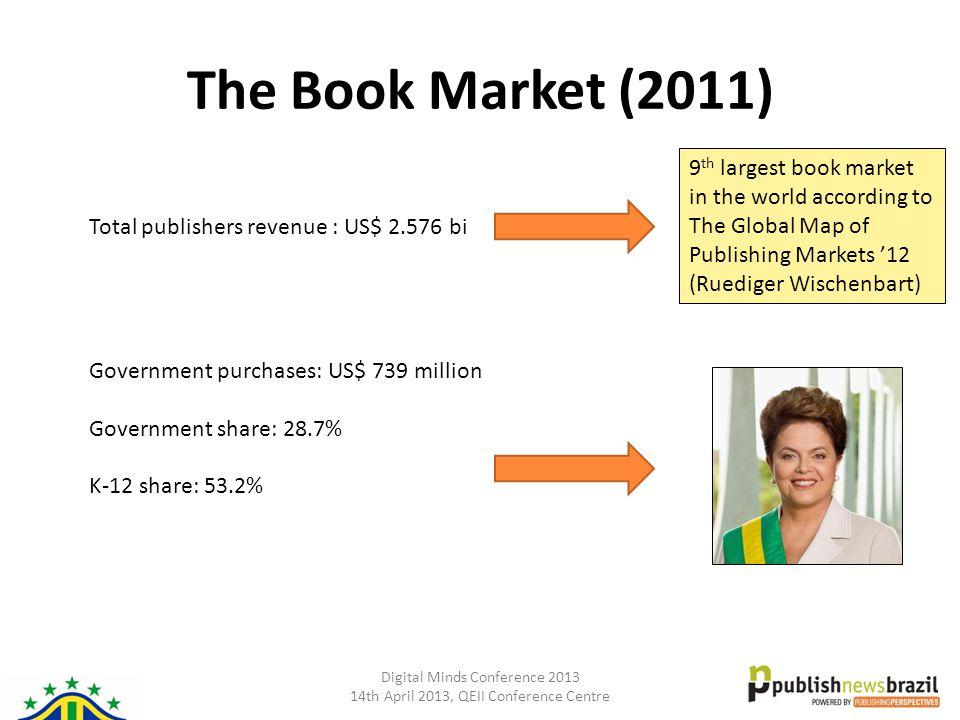 Digital Minds Conference 2013 14th April 2013, QEII Conference Centre The Book Market (2011) Total publishers revenue : US$ 2.576 bi Government purcha