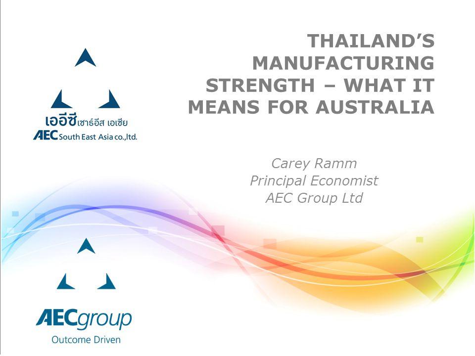 THAILAND'S MANUFACTURING STRENGTH – WHAT IT MEANS FOR AUSTRALIA Carey Ramm Principal Economist AEC Group Ltd