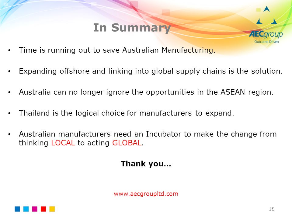 In Summary 18 Time is running out to save Australian Manufacturing. Expanding offshore and linking into global supply chains is the solution. Australi