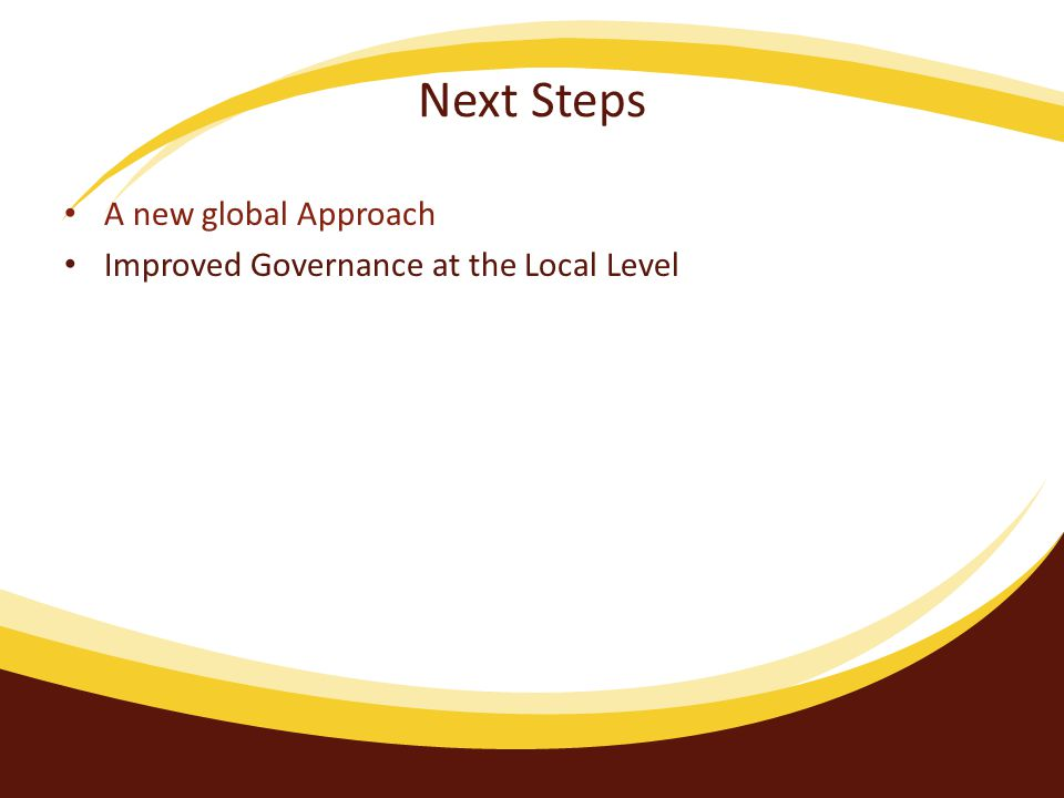 Next Steps A new global Approach Improved Governance at the Local Level