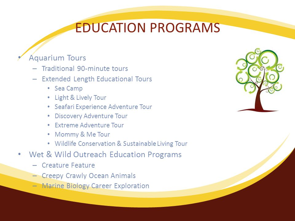 EDUCATION PROGRAMS Aquarium Tours – Traditional 90-minute tours – Extended Length Educational Tours Sea Camp Light & Lively Tour Seafari Experience Adventure Tour Discovery Adventure Tour Extreme Adventure Tour Mommy & Me Tour Wildlife Conservation & Sustainable Living Tour Wet & Wild Outreach Education Programs – Creature Feature – Creepy Crawly Ocean Animals – Marine Biology Career Exploration