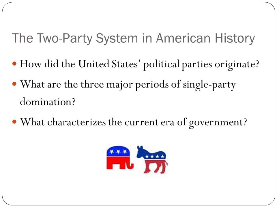 The Two-Party System in American History How did the United States' political parties originate? What are the three major periods of single-party domi