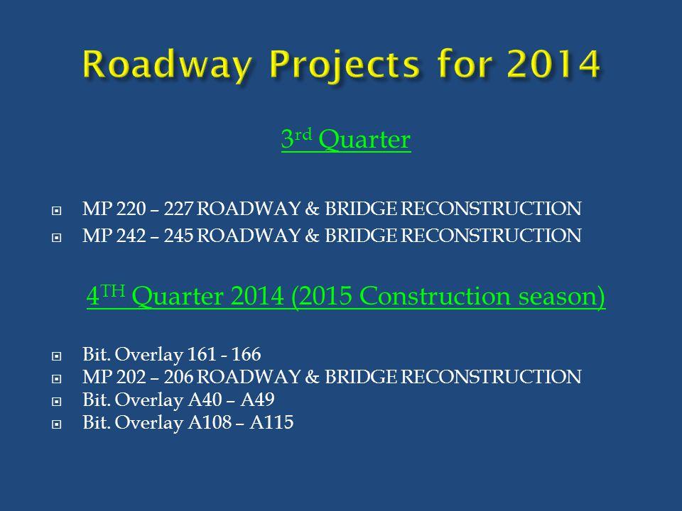 3 rd Quarter  MP 220 – 227 ROADWAY & BRIDGE RECONSTRUCTION  MP 242 – 245 ROADWAY & BRIDGE RECONSTRUCTION 4 TH Quarter 2014 (2015 Construction season
