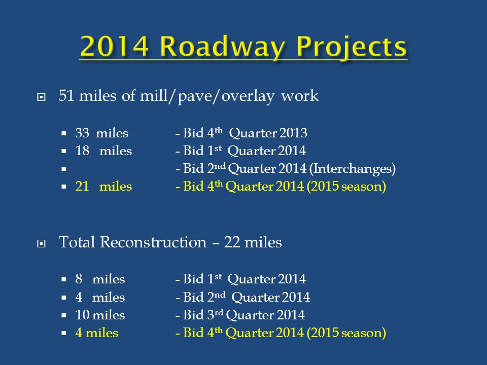  51 miles of mill/pave/overlay work  33 miles- Bid 4 th Quarter 2013  18 miles - Bid 1 st Quarter 2014  - Bid 2 nd Quarter 2014 (Interchanges)  2