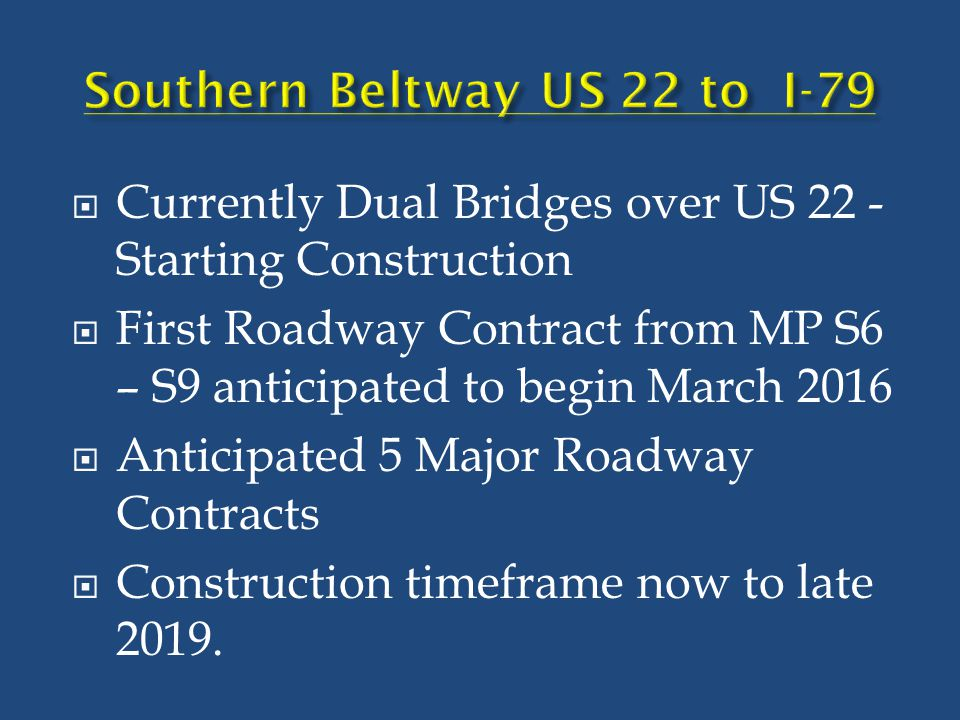  Currently Dual Bridges over US 22 - Starting Construction  First Roadway Contract from MP S6 – S9 anticipated to begin March 2016  Anticipated 5 M