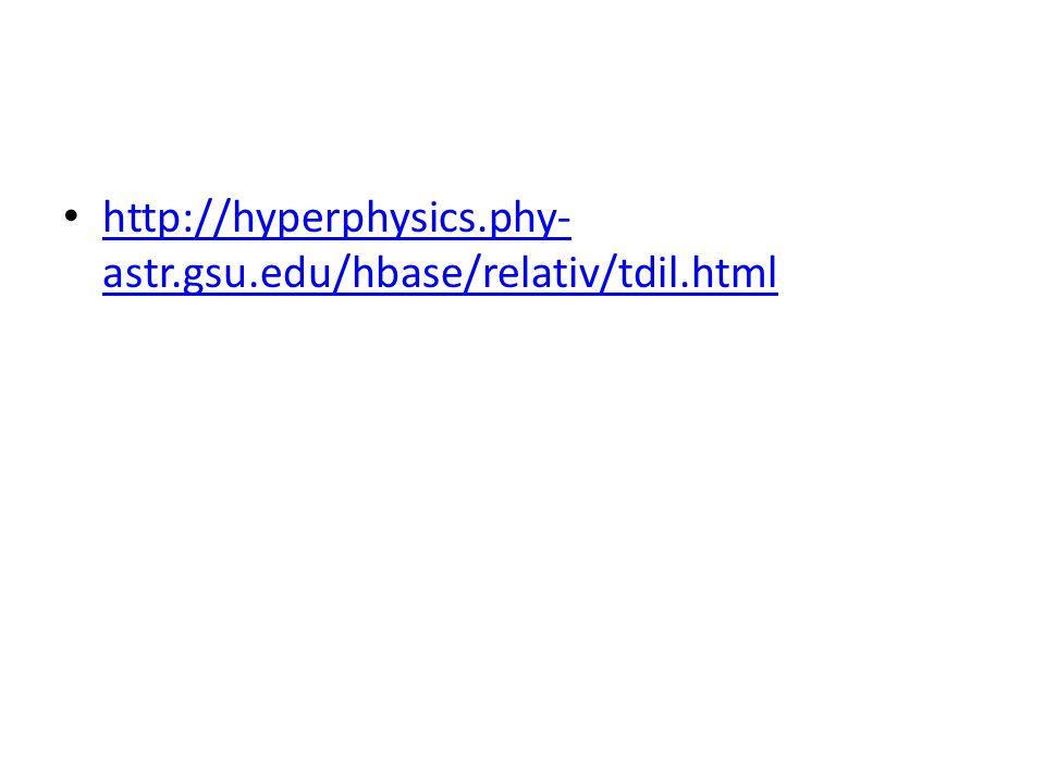http://hyperphysics.phy- astr.gsu.edu/hbase/relativ/tdil.html http://hyperphysics.phy- astr.gsu.edu/hbase/relativ/tdil.html