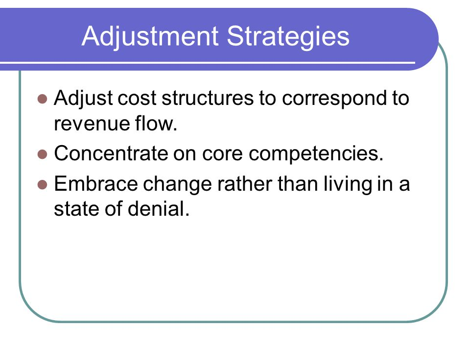 Adjustment Strategies Adjust cost structures to correspond to revenue flow. Concentrate on core competencies. Embrace change rather than living in a s