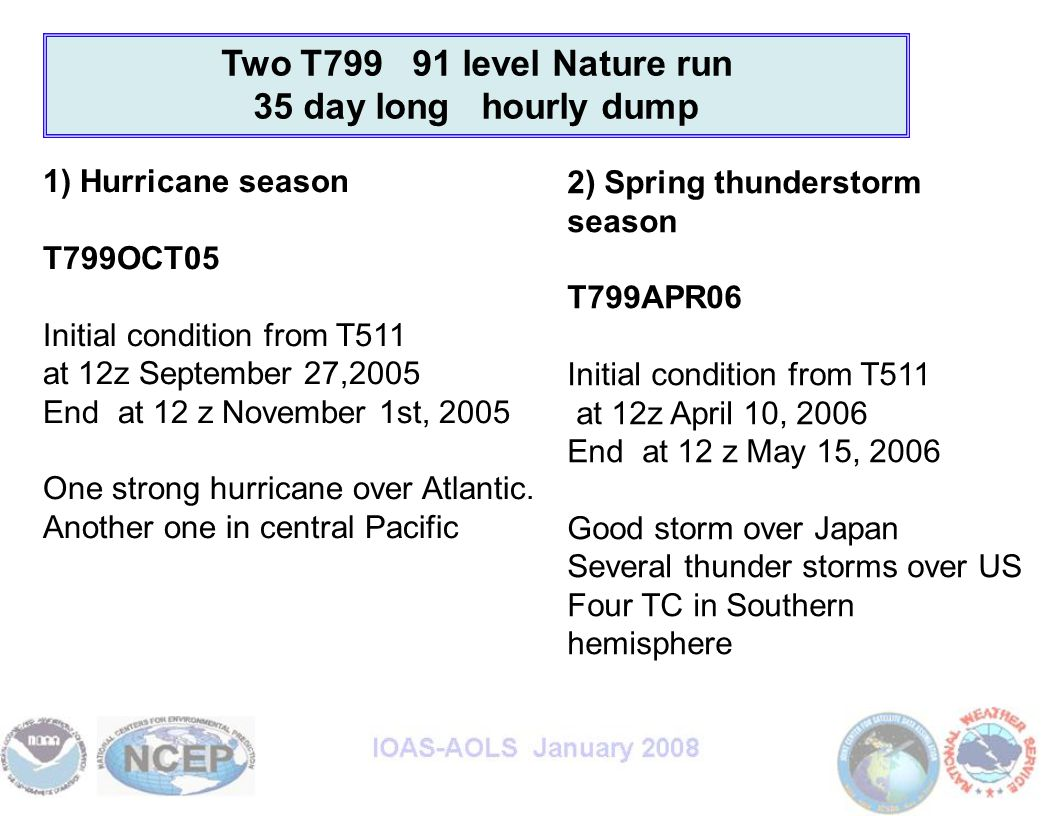 Two T799 91 level Nature run 35 day long hourly dump 1) Hurricane season T799OCT05 Initial condition from T511 at 12z September 27,2005 End at 12 z November 1st, 2005 One strong hurricane over Atlantic.