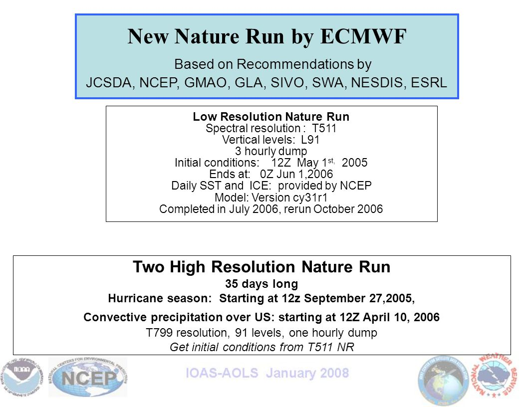 New Nature Run by ECMWF Based on Recommendations by JCSDA, NCEP, GMAO, GLA, SIVO, SWA, NESDIS, ESRL Low Resolution Nature Run Spectral resolution : T511 Vertical levels: L91 3 hourly dump Initial conditions: 12Z May 1 st, 2005 Ends at: 0Z Jun 1,2006 Daily SST and ICE: provided by NCEP Model: Version cy31r1 Completed in July 2006, rerun October 2006 Two High Resolution Nature Run 35 days long Hurricane season: Starting at 12z September 27,2005, Convective precipitation over US: starting at 12Z April 10, 2006 T799 resolution, 91 levels, one hourly dump Get initial conditions from T511 NR