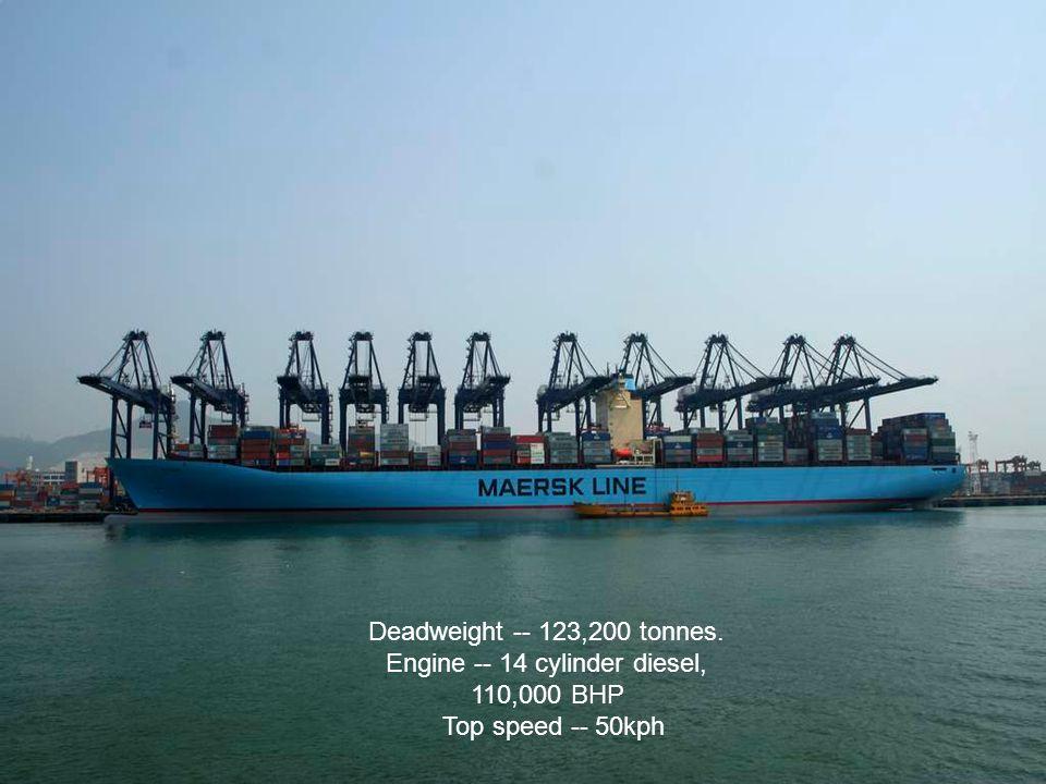 Deadweight -- 123,200 tonnes. Engine -- 14 cylinder diesel, 110,000 BHP Top speed -- 50kph