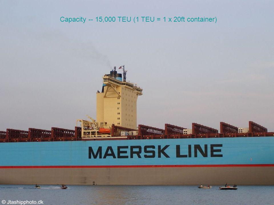 Capacity -- 15,000 TEU (1 TEU = 1 x 20ft container)