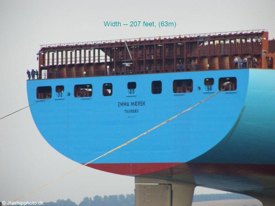 Width -- 207 feet, (63m)