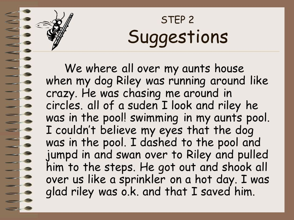 STEP 2 Suggestions We where all over my aunts house when my dog Riley was running around like crazy. He was chasing me around in circles. all of a sud