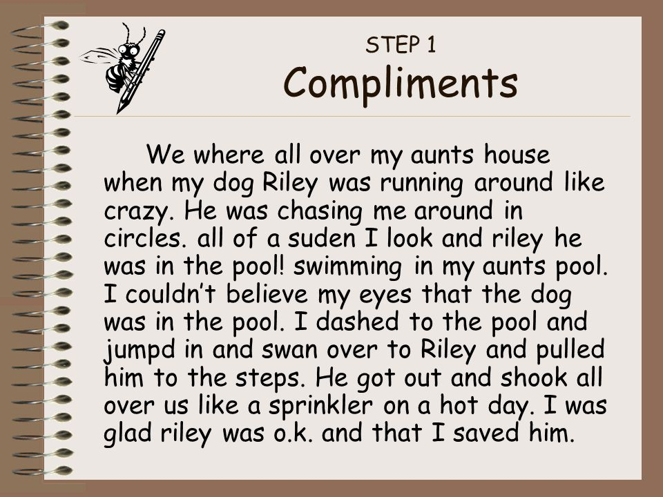STEP 1 Compliments We where all over my aunts house when my dog Riley was running around like crazy.