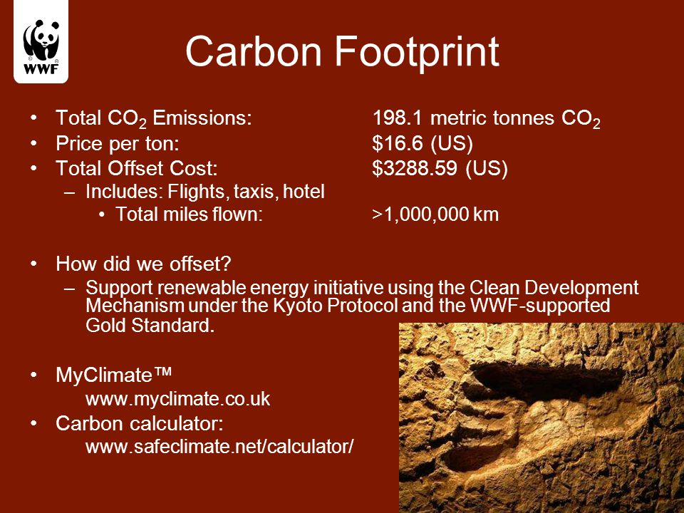 Carbon Footprint Total CO 2 Emissions: 198.1 metric tonnes CO 2 Price per ton:$16.6 (US) Total Offset Cost: $3288.59 (US) –Includes: Flights, taxis, h
