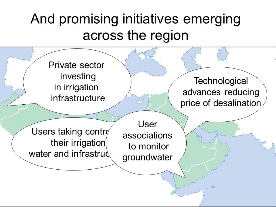 And promising initiatives emerging across the region Private sector investing in irrigation infrastructure Users taking control of their irrigation water and infrastructure Technological advances reducing price of desalination User associations to monitor groundwater
