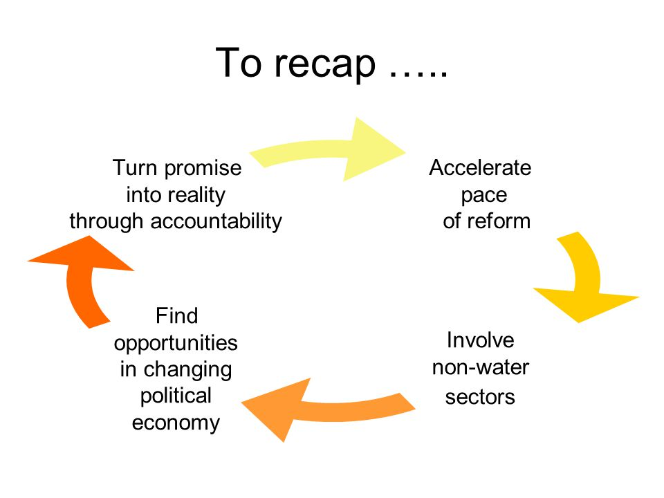To recap ….. Accelerate pace of reform Involve non-water sectors Find opportunities in changing political economy Turn promise into reality through ac