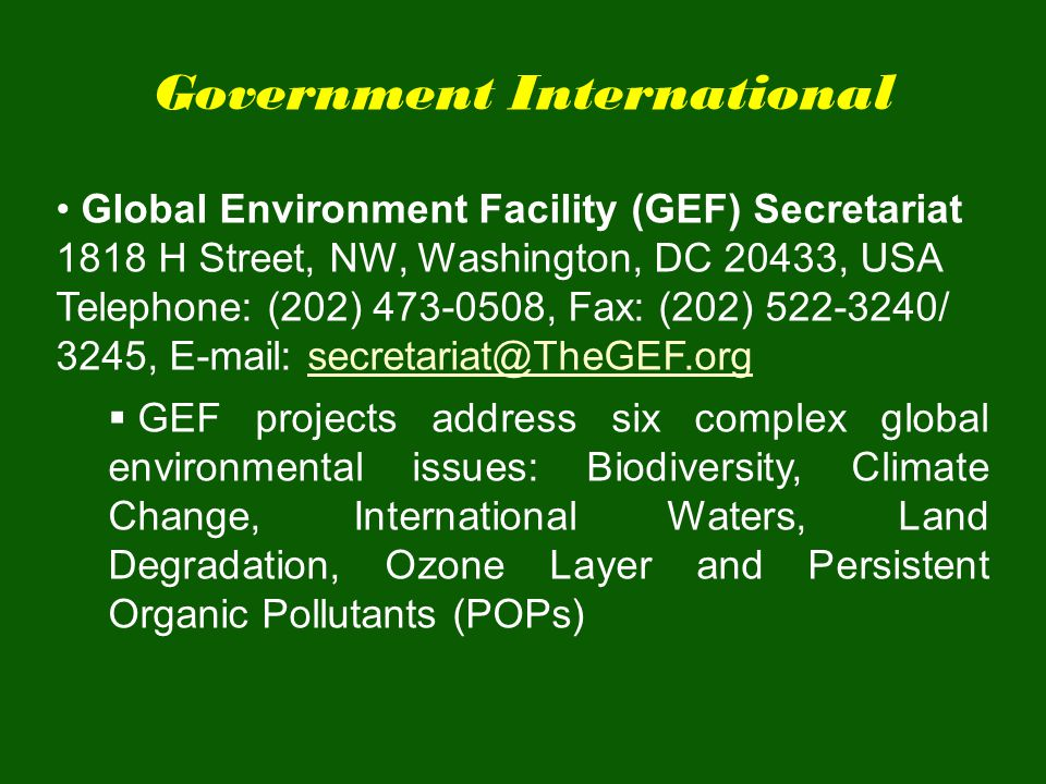 Government International Global Environment Facility (GEF) Secretariat 1818 H Street, NW, Washington, DC 20433, USA Telephone: (202) 473-0508, Fax: (2