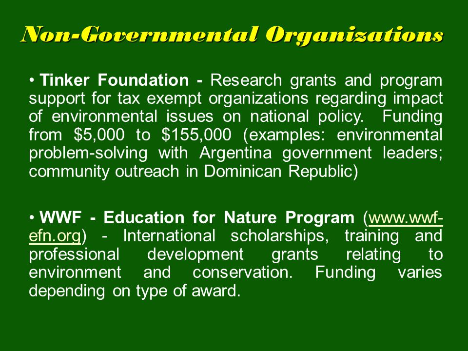 Non-Governmental Organizations Tinker Foundation - Research grants and program support for tax exempt organizations regarding impact of environmental