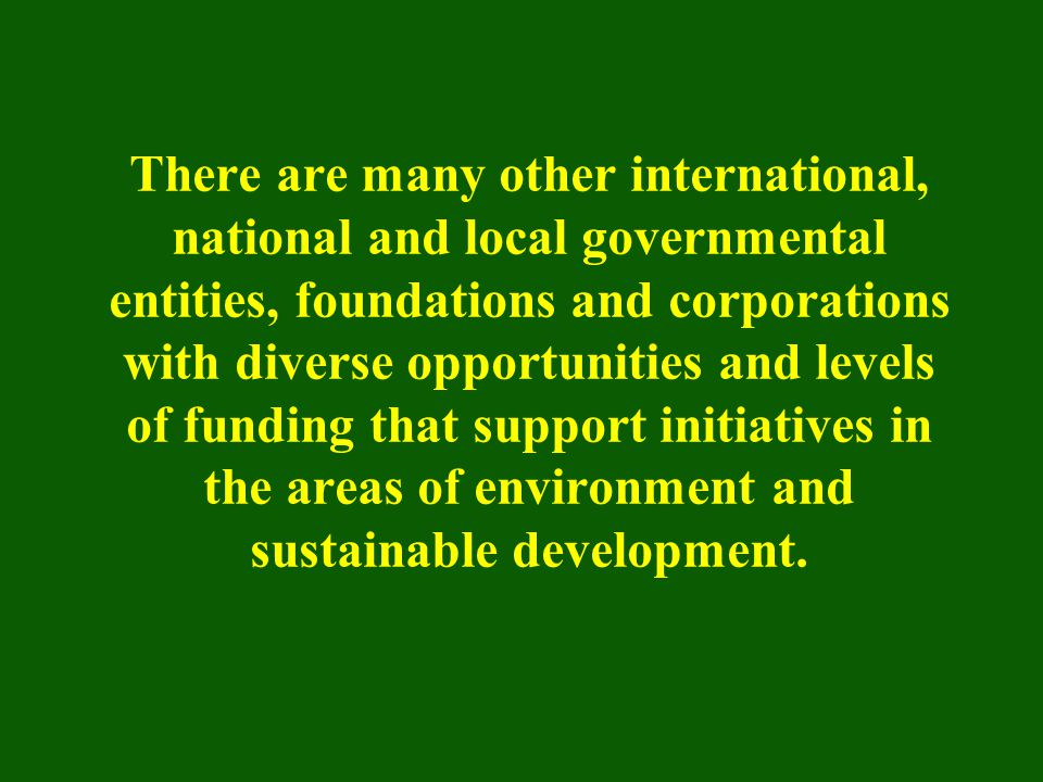 There are many other international, national and local governmental entities, foundations and corporations with diverse opportunities and levels of fu
