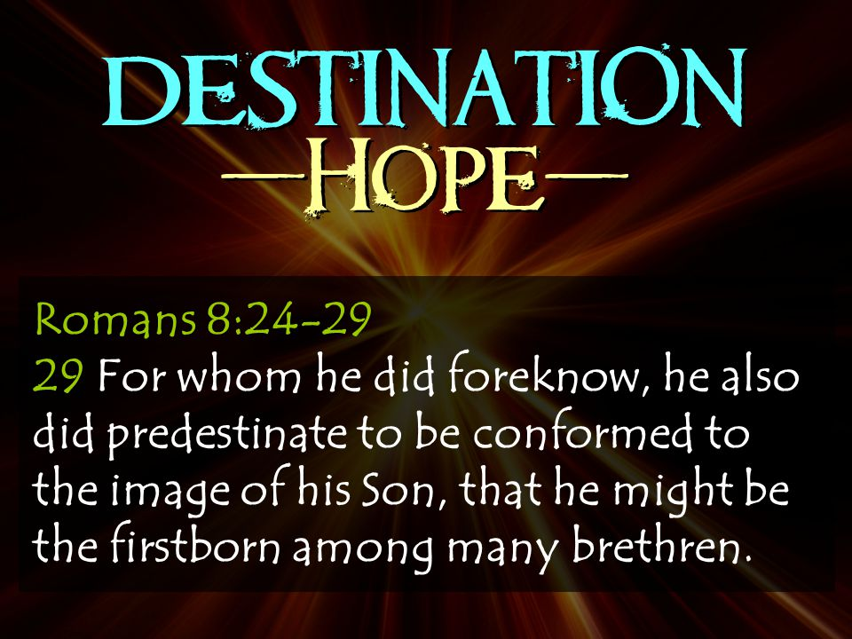 DESTINATION -Hope- Romans 8:24-29 29 For whom he did foreknow, he also did predestinate to be conformed to the image of his Son, that he might be the firstborn among many brethren.