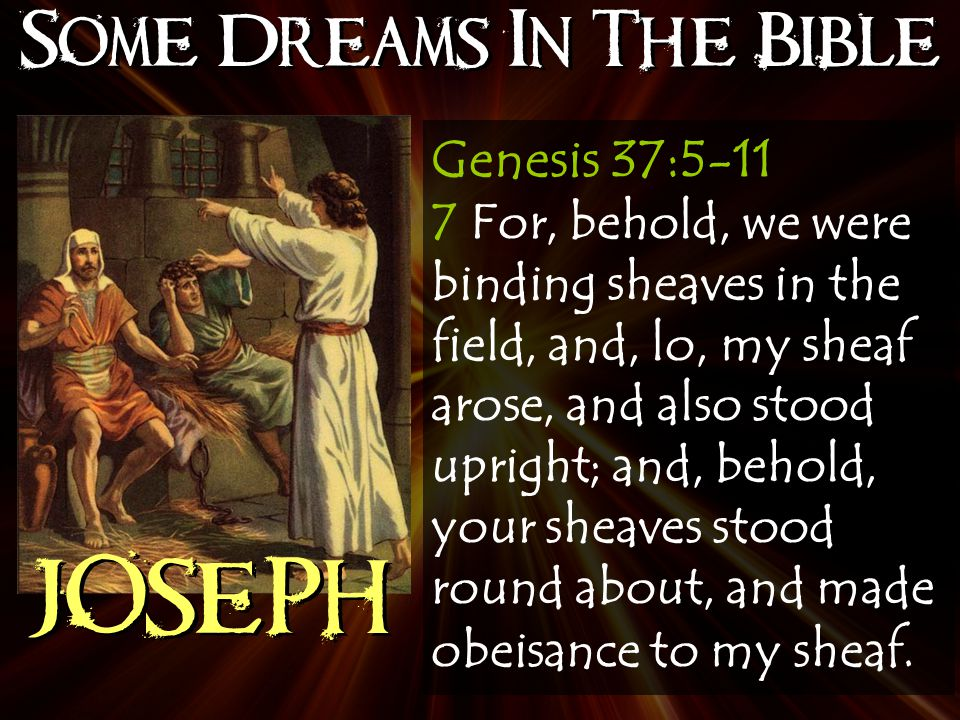 Some Dreams In The Bible JOSEPH Genesis 37:5-11 7 For, behold, we were binding sheaves in the field, and, lo, my sheaf arose, and also stood upright; and, behold, your sheaves stood round about, and made obeisance to my sheaf.