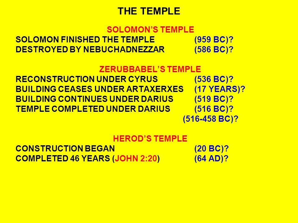 THE TEMPLE SOLOMON'S TEMPLE SOLOMON FINISHED THE TEMPLE(959 BC).